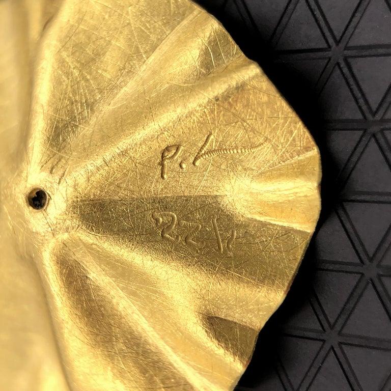 Artist Petra Class White Diamond Large Gold Lotus Ruffle Stud Earrings For Sale