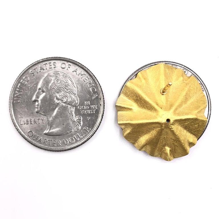 Round Cut Petra Class White Diamond Large Gold Lotus Ruffle Stud Earrings For Sale