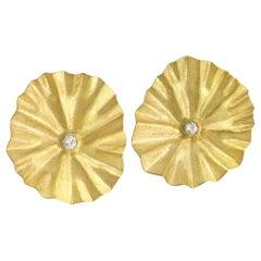 Petra Class White Diamond Large Gold Lotus Ruffle Stud Earrings