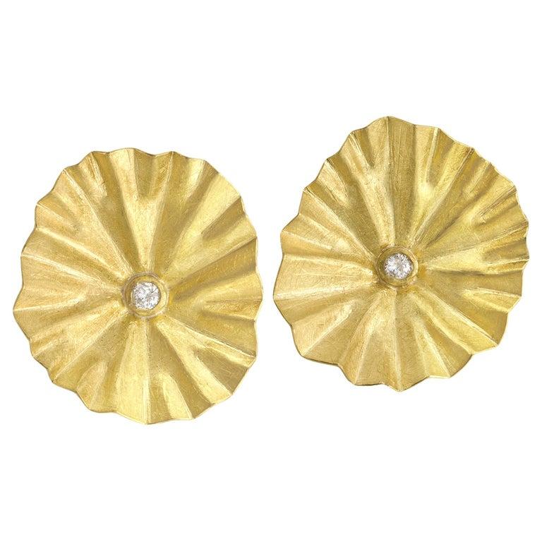 Petra Class White Diamond Large Gold Lotus Ruffle Stud Earrings For Sale