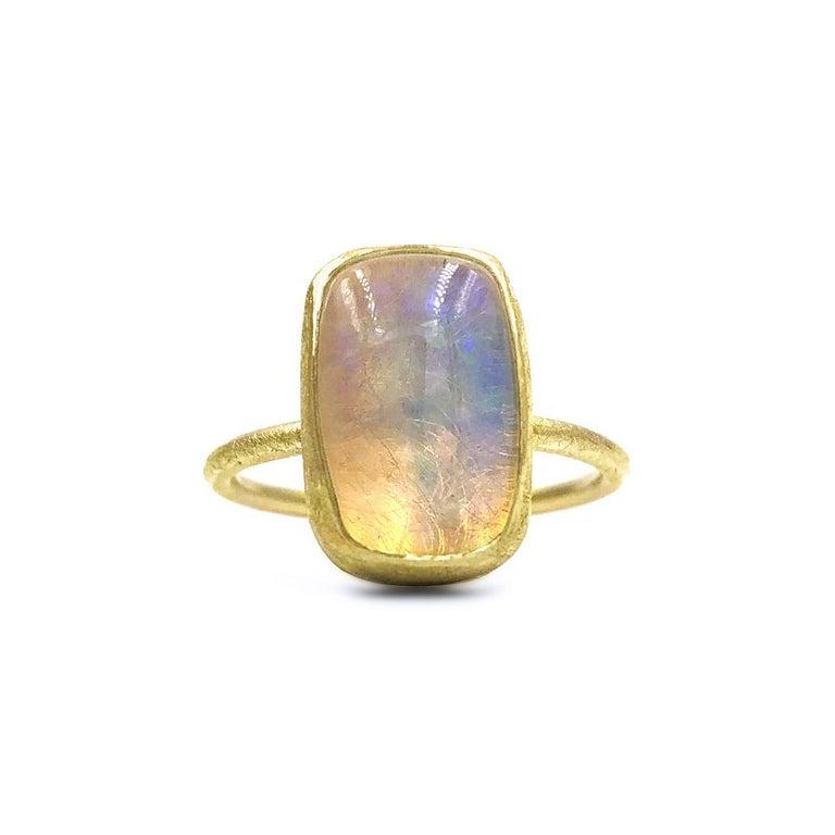 Artisan Petra Class White Ethiopian Opal Cabochon Matte Gold Ring