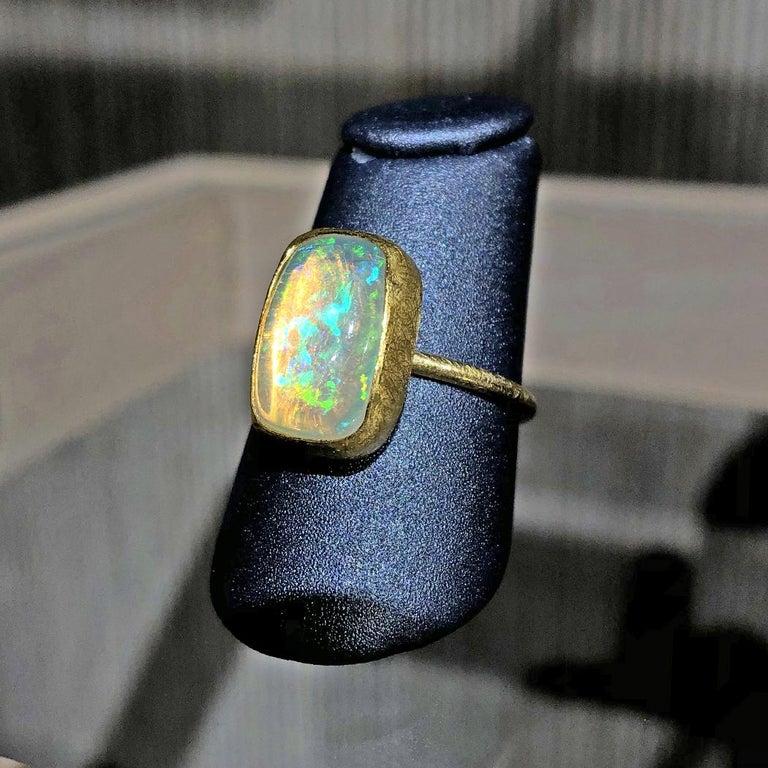 Cushion Cut Petra Class White Ethiopian Opal Cabochon Matte Gold Ring