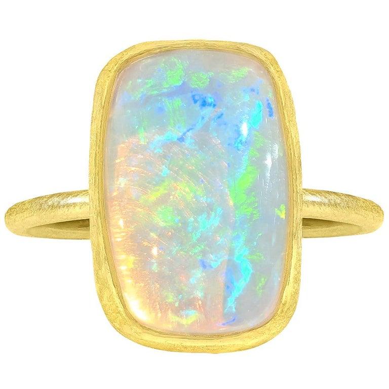 Petra Class White Ethiopian Opal Cabochon Matte Gold Ring