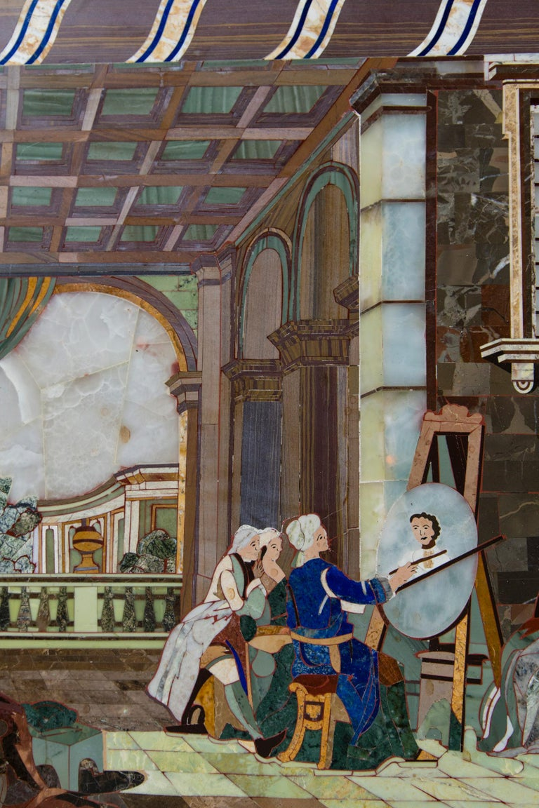 Marble Petra Dura Plaque, The Artist's Studio For Sale