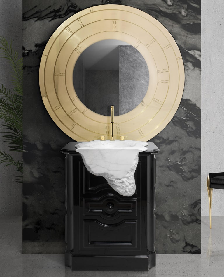 Portuguese Petra Freestand with Hand-Worked Estremoz Marble Sink For Sale