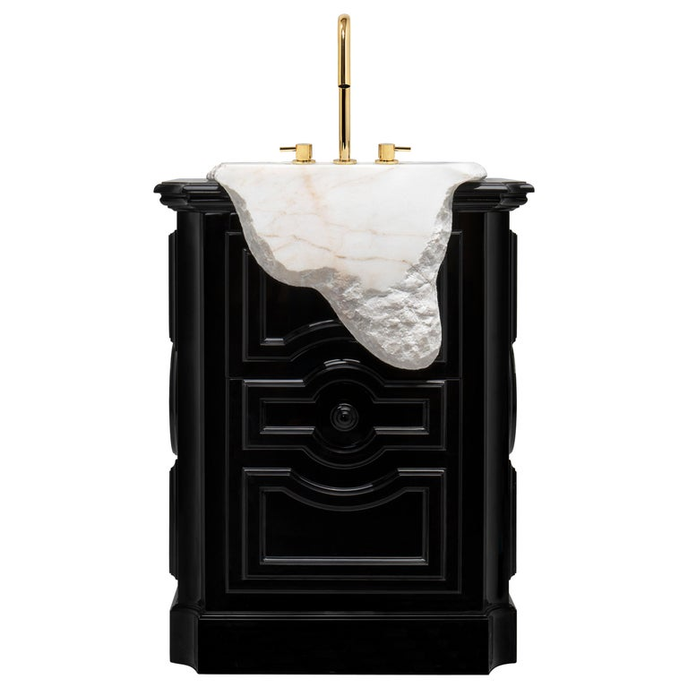 Petra Freestand with Hand-Worked Estremoz Marble Sink For Sale