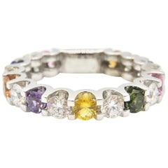 Petra Rainbow Sapphire and Diamond Eternity Band Ring