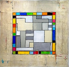 Architecture by Petra Rös-Nickel - Contemporary Colorful Geometric Oil Painting