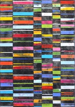 """Black Big Stripes"" - Large Modern Oil Artwork"