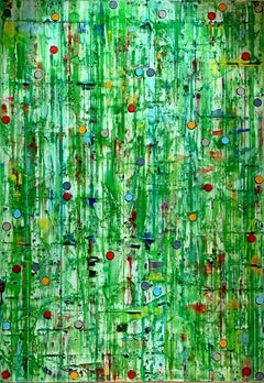 Joyous Green by Petra Rös-Nickel - architectural contemporary painting