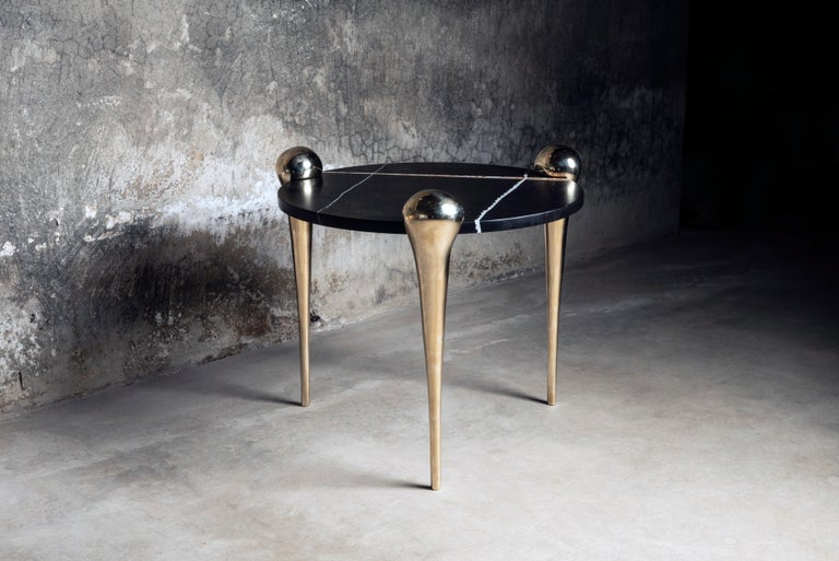 American Petra Side Table with Marble and Cast Bronze Legs For Sale
