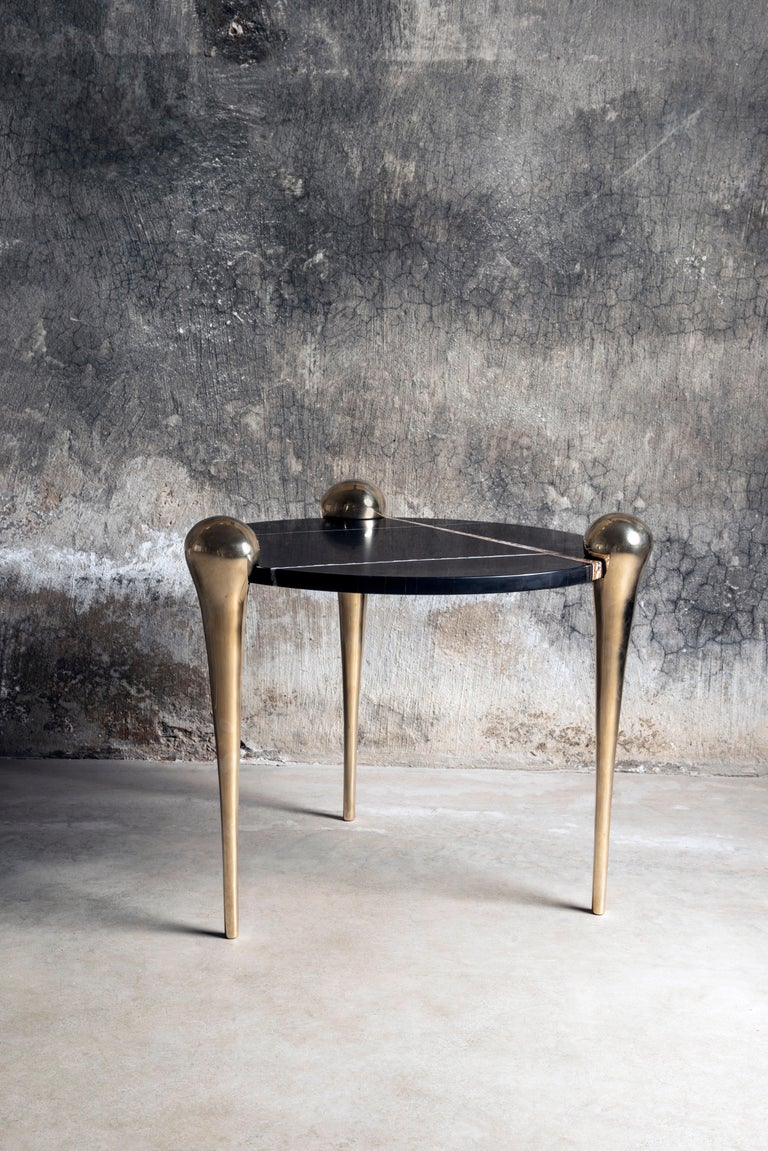 Petra Side Table with Marble and Cast Bronze Legs In New Condition For Sale In New York, NY
