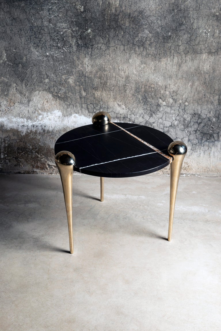Contemporary Petra Side Table with Marble and Cast Bronze Legs For Sale