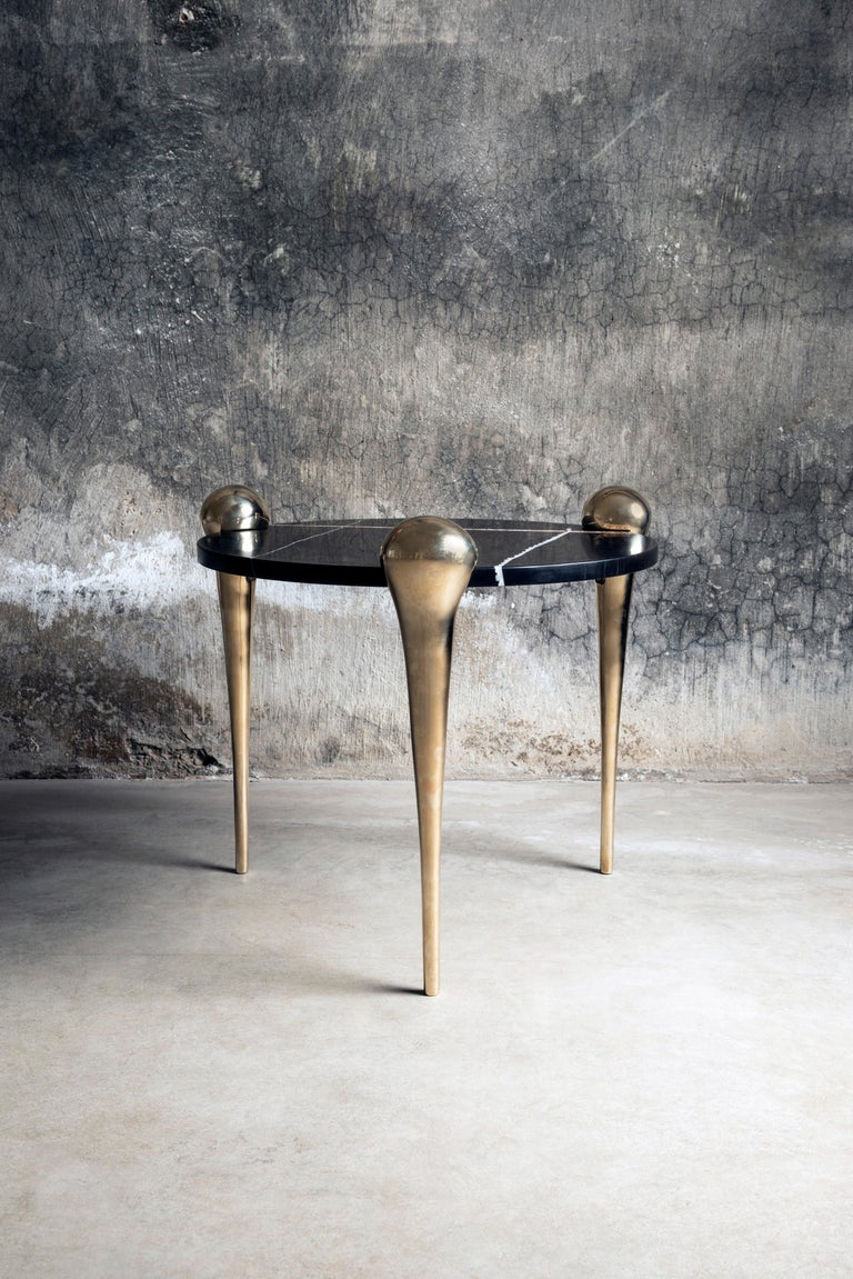 Petra Side Table with Marble and Cast Bronze Legs For Sale 1