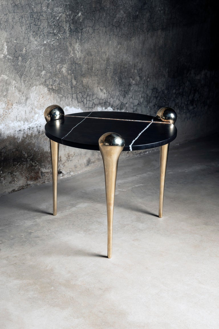 Petra Side Table with Marble and Cast Bronze Legs For Sale 2