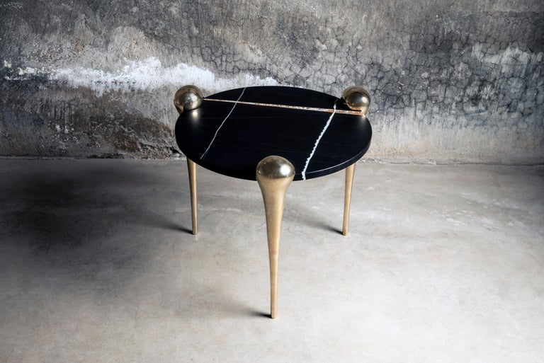 Petra Side Table with Marble and Cast Bronze Legs For Sale 3