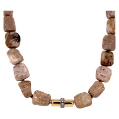 Petrified Palm Wood Necklace with an 18 Karat Yellow Gold Tube Diamond Clasp
