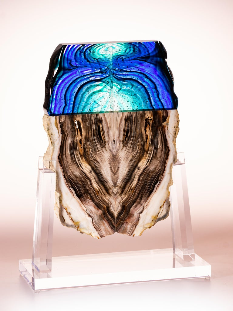 Cast Petrified Wood and Glass Sculpture For Sale