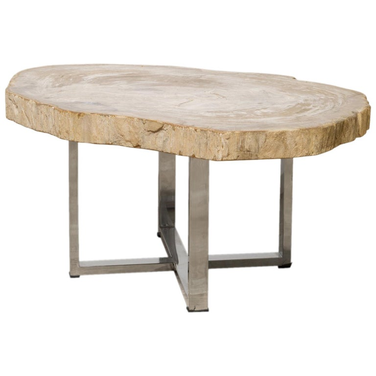 Wooden Coffee Table Legs For Sale: Petrified Wood Coffee Or Side Table With Chorme Legs For