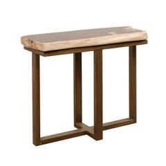 Petrified Wood Console Table on Custom Modern Base