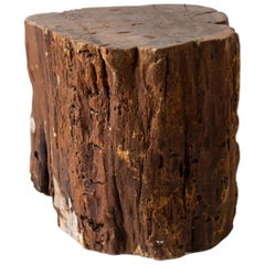 Petrified Wood Side Table Evidencing Elements of Original Bark