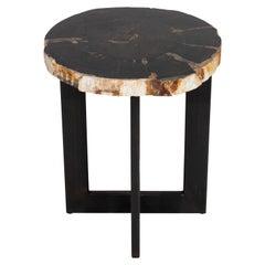 Petrified Wood Slice Side Table on Iron Base