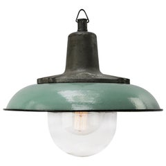 Petrol Enamel Vintage Industrial Cast Iron Clear Glass Pendant Lamp