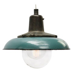 Petrol Enamel Vintage Industrial Cast Iron Clear Glass Pendant Lamps