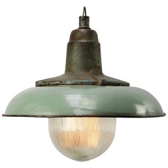Petrol Enamel Vintage Industrial Cast Iron Holophane Glass Pendant Lamp