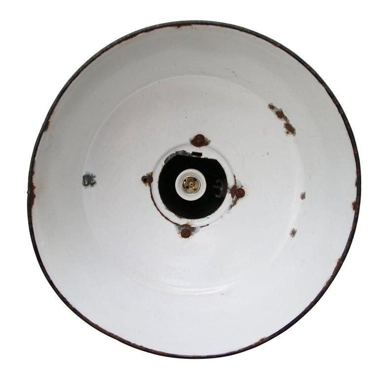 Polish Petrol Enamel Vintage Industrial Cast Iron Pendant Lamp For Sale