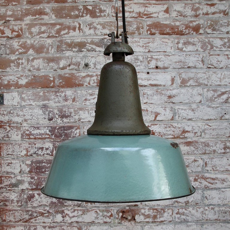 Petrol Enamel Vintage Industrial Cast Iron Pendant Lamp In Fair Condition For Sale In Amsterdam, NL