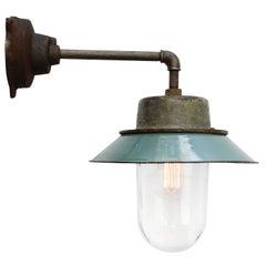 Petrol Enamel Vintage Industrial Clear Glass Scones Wall Light