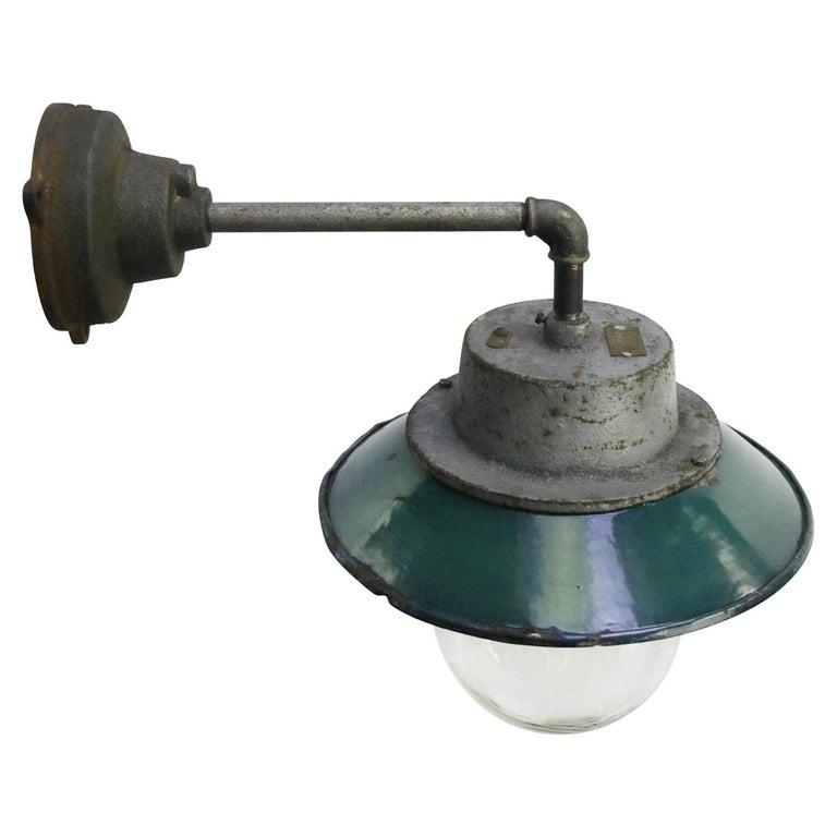 Polish Petrol Enamel Vintage Industrial Clear Glass Scones Wall Lights For Sale