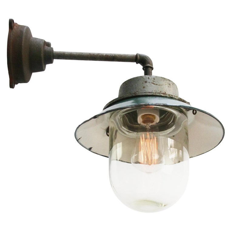 Cast Petrol Enamel Vintage Industrial Clear Glass Scones Wall Lights For Sale