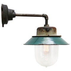 Petrol Enamel Vintage Industrial Clear Glass Scones Wall Lights