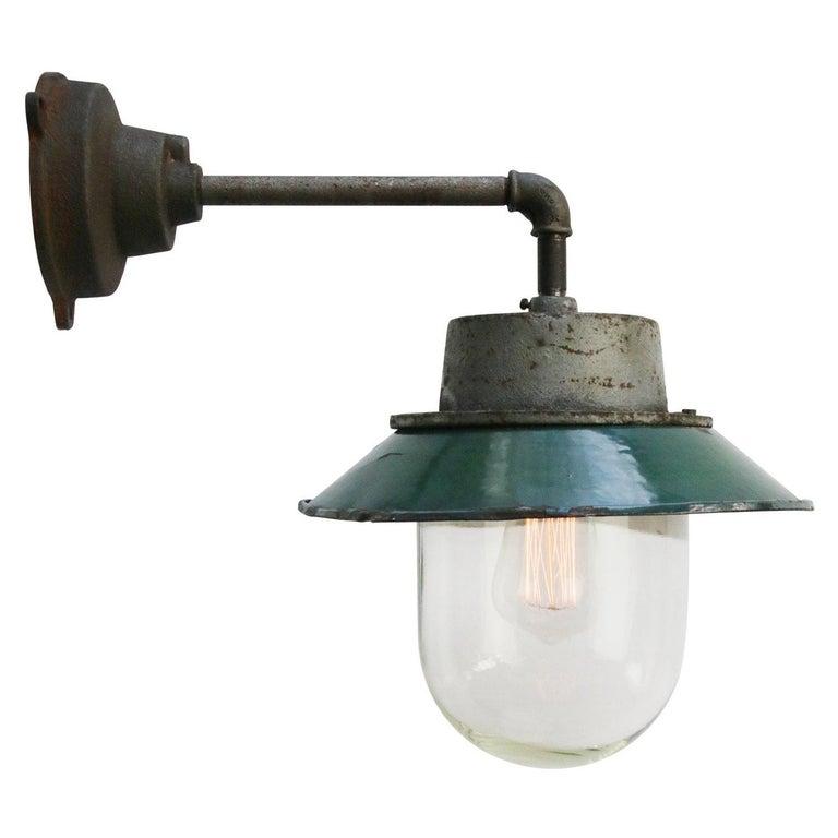 Petrol Enamel Vintage Industrial Clear Glass Scones Wall Lights For Sale