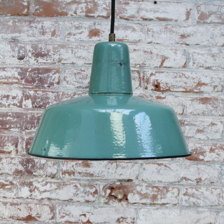 Petrol Enamel Vintage Industrial Pendant Light In Good Condition For Sale In Amsterdam, NL