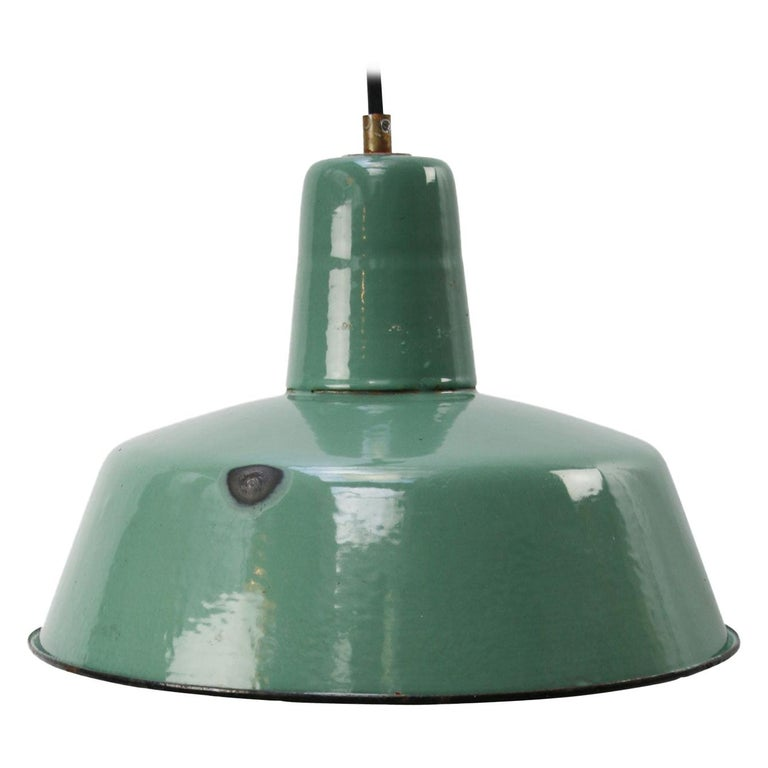 Petrol Enamel Vintage Industrial Pendant Light For Sale