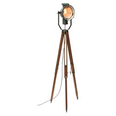 Petrol Enamel Vintage Industrial Wooden Legs Spot Light Tripod Floor Lamp