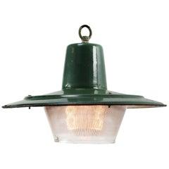 Petrol Green Enamel Vintage Industrial Glass Factory Pendant Lights