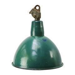 Petrol Green Enamel Vintage Industrial Hanging Lights Pendants