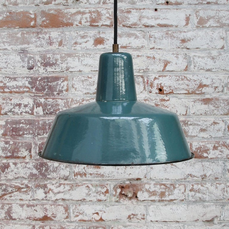 20th Century Petrol Green Enamel Vintage Industrial Pendant Light For Sale