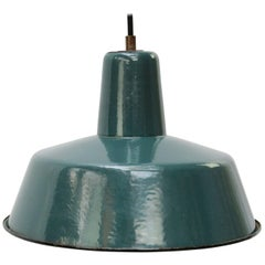 Petrol Green Enamel Vintage Industrial Pendant Light