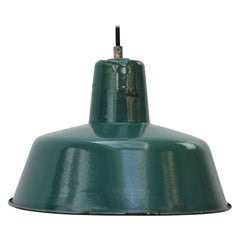 Petrol Green Enamel Vintage Industrial Pendant Lights