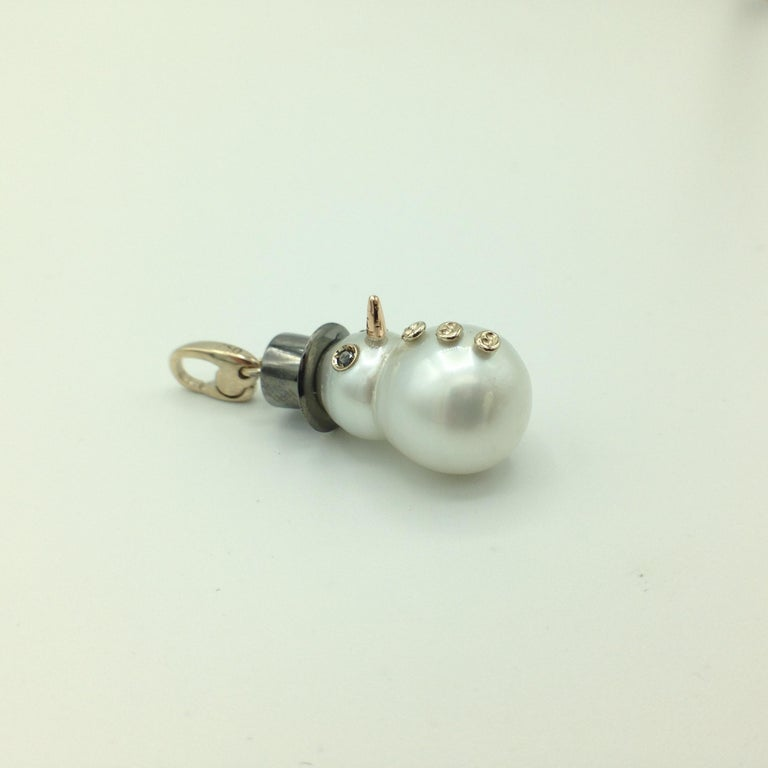18 Karat Gold Snowman Black Diamond Australian Pearl Pendant or Charm 1