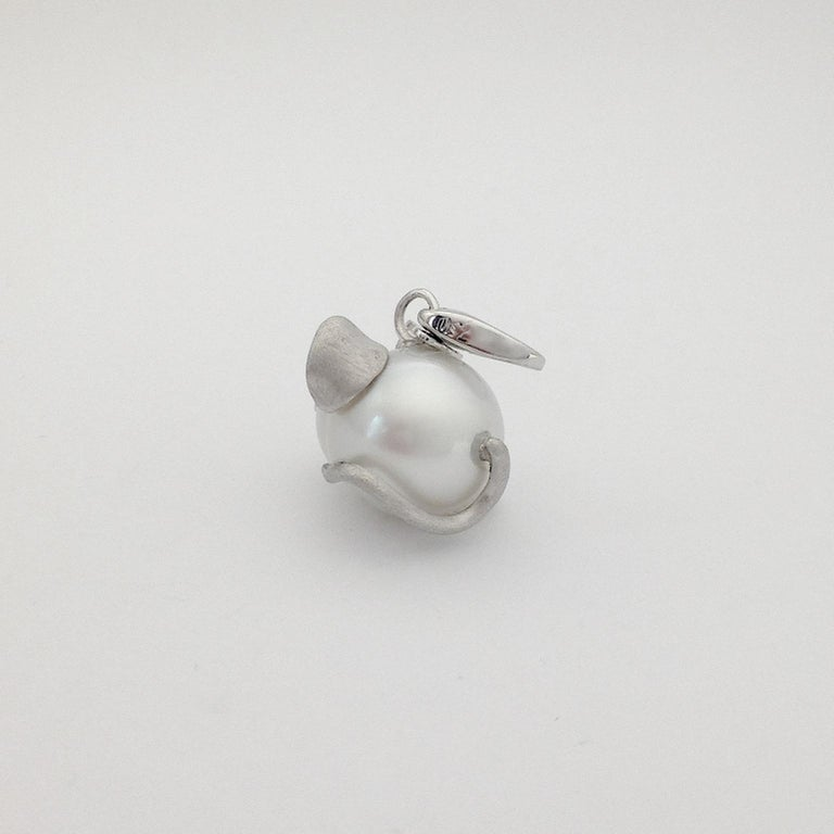 Women's Black Diamond White 18 Kt Gold Pearl Pendant/Necklace and Charm Mouse Made in IT For Sale
