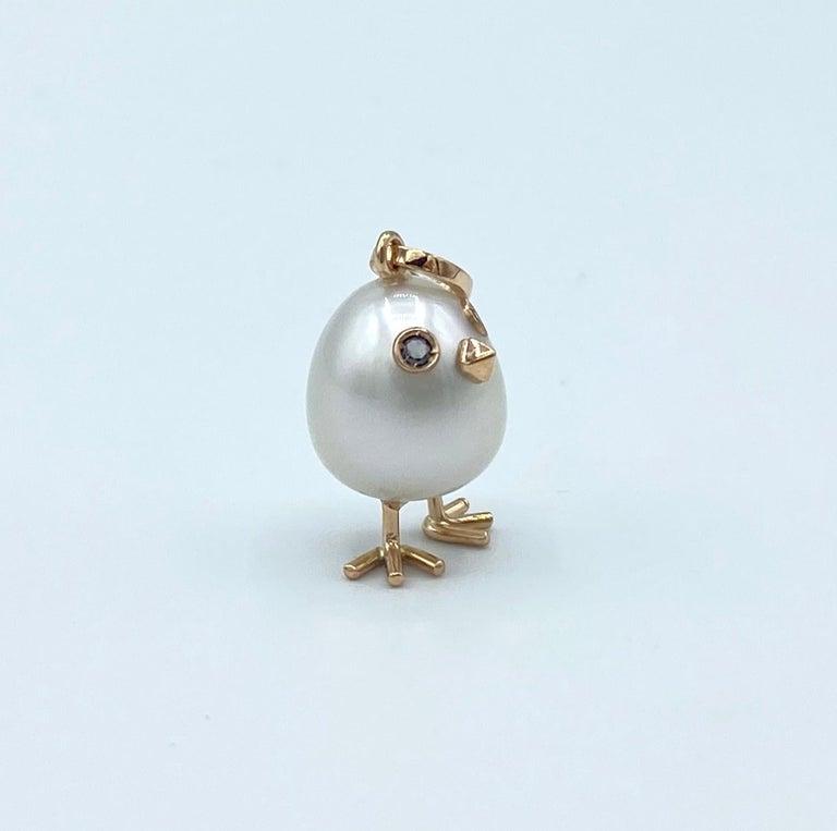 Chick Australian Pearl Black Diamond 18 Karat Gold Pendant Necklace In New Condition For Sale In Bussolengo, Verona