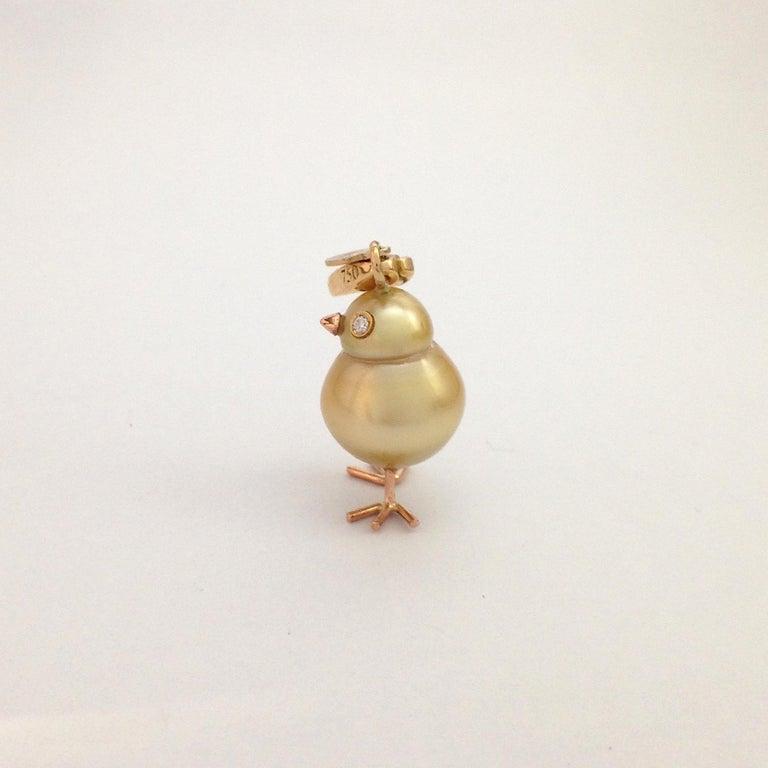 Chick Australian Pearl Diamond 18 Karat Gold Charm Pendant/Necklace 6
