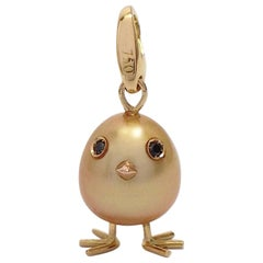 Petronilla Chick Australian Pearl Diamond Yellow 18Kt Gold Pendant or Necklace