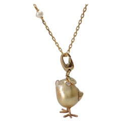 Petronilla Chick Australian Pearl Diamond Yellow 18 Kt Gold Pendant or Necklace